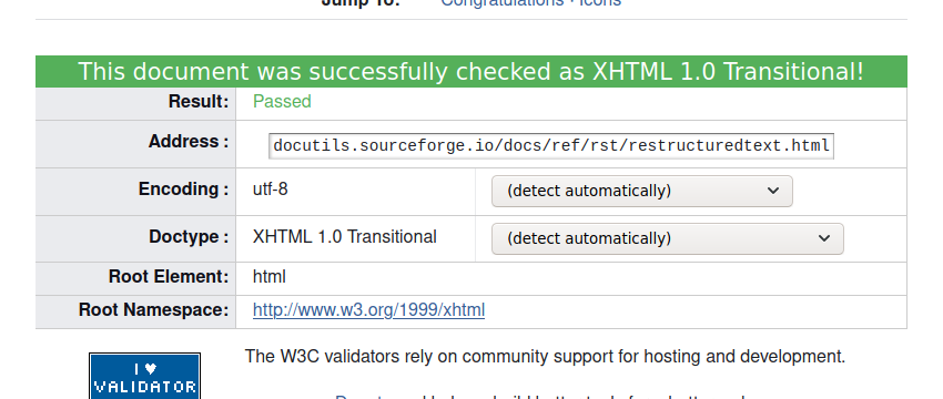 "A screenshot of the W3C Markup Validator for the docutils' reStructuredText documentation saying ""This document was successfully checked as XHTML 1.0 Transitional! Result: Passed."""